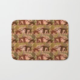 Badgers in Woodland Forest Plants under the Fall Sun, Cute Badger Mom & Baby in Woods Brown Green Bath Mat