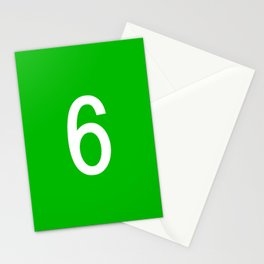 NUMBER 6 (WHITE-GREEN) Stationery Cards