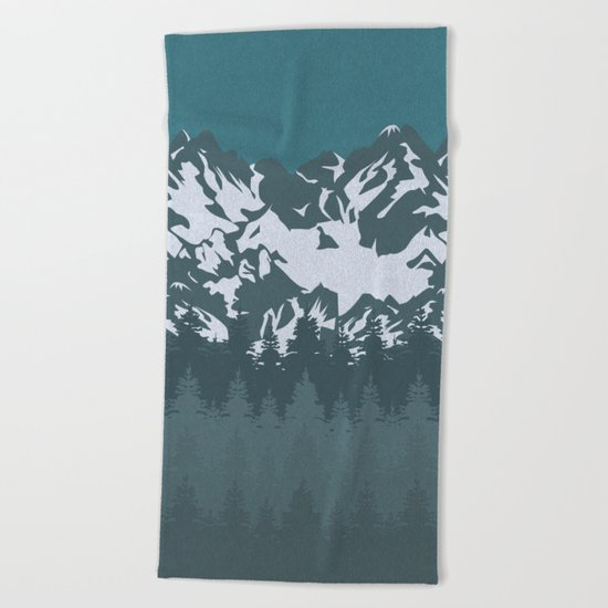 Trees and Mountains Beach Towel