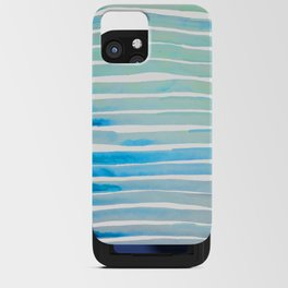 New Year Blue Water Lines iPhone Card Case