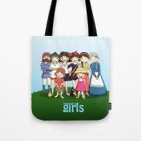 miyazaki Tote Bags featuring Miyazaki Girl's by TubaTOPAL