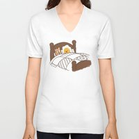 bed V-neck T-shirts featuring Breakfast In Bed  by Terry Fan