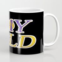 lakers Mugs featuring Stay Gold by Ant Atomic