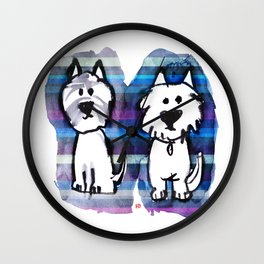 Two very serious Westies Wall Clock