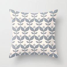 Silver grey retro tulip floral Throw Pillow