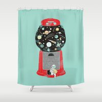 ilovedoodle Shower Curtains featuring My childhood universe by I Love Doodle