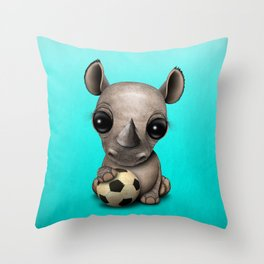 Cute Baby Rhino With Football Soccer Ball Throw Pillow
