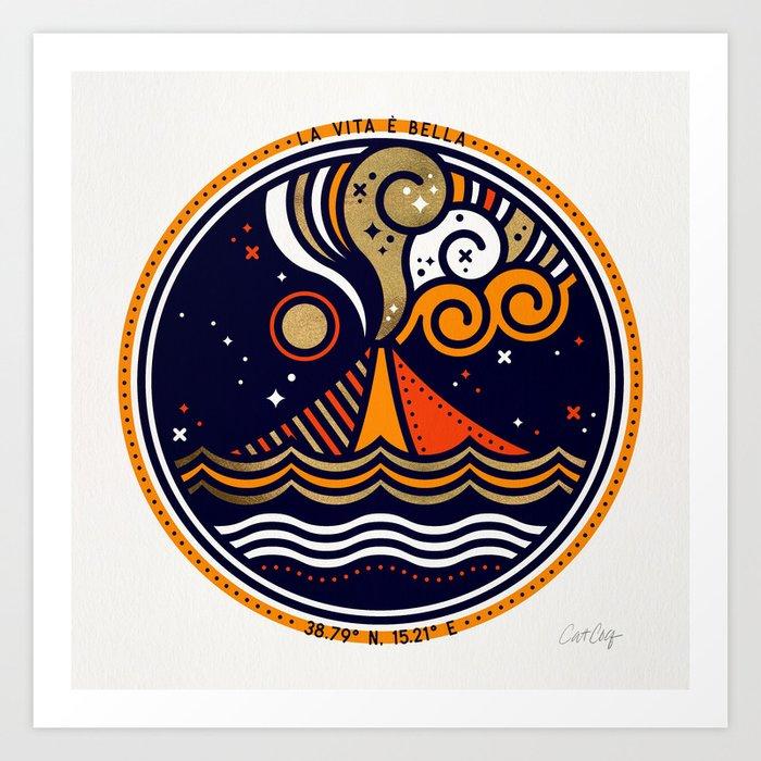 La Vita è Bella – Mediterranean Volcano in Fire Palette Art Print