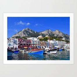 The Beach in Capri, Italy Art Print