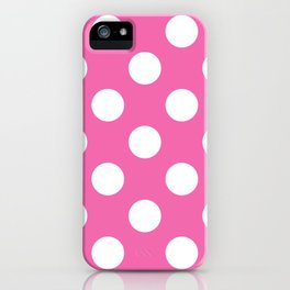 Geometric Candy Dot Circles - White on Strawberry Pink iPhone Case