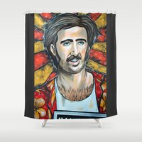 nicolas cage Shower Curtains featuring Raising Arizona Nicolas Cage by Portraits on the Periphery