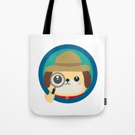 Dog detective with magnifying glass Tote Bag