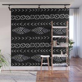 Mudcloth linocut design original black and white minimal inky texture pattern Wall Mural