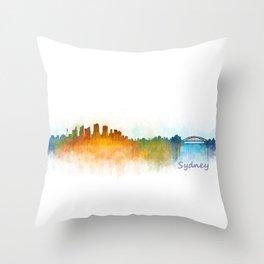 Sydney City Skyline Hq v3 Throw Pillow