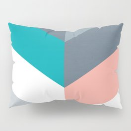 Vertical Chevron Pattern - Teal, Coral and Dusty Blues #geometry #minimalart #society6 Pillow Sham