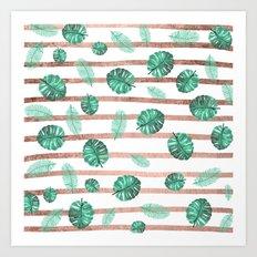 Modern exotic summer  watercolor tropical leaf rose gold stripes  Art Print