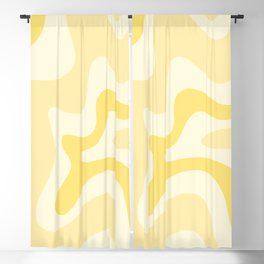 Retro Liquid Swirl Abstract Square in Soft Pale Pastel Yellow Blackout Curtain