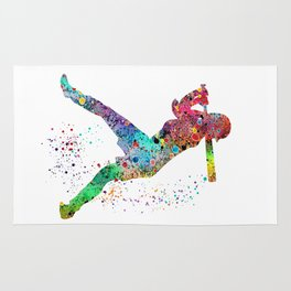 Baseball Softball Player Sports Art Print Watercolor Print Girl's softball Rug