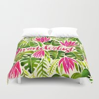 lime Duvet Covers featuring Tropical Wanderlust – Pink & Lime by Cat Coquillette