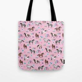 Horses & Flowers, Pink Pattern, Horse Illustration, Little Girls Room, Watercolor Tote Bag