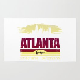 Atlanta, Geogia Gifts  Distressed Coordinates Rug