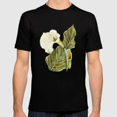 White Calla Lily Mens Fitted Tee Black MEDIUM