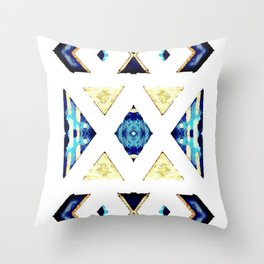 Geometric Rug in Gold, Black and Blue Throw Pillow