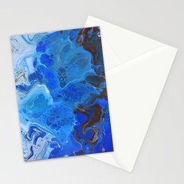 Storm Surge Blue and Brown Fluid Acrylic Abstract Painting Stationery Cards