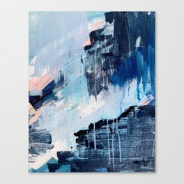 Vibes: an abstract mixed media piece in blues and pinks by Alyssa Hamilton Art Canvas Print