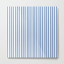 Modern summer trend sky blue white stripes pattern Metal Print