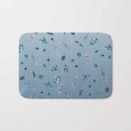 Falling Leaves in Blue Bath Mat