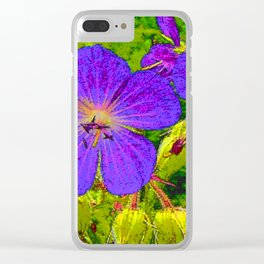 Blue blossoms on canvas Clear iPhone Case