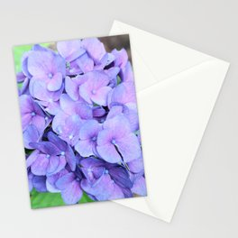 Organic blue pink hortensia flowers nature photo Stationery Cards