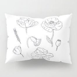 Black white poppy Pillow Sham
