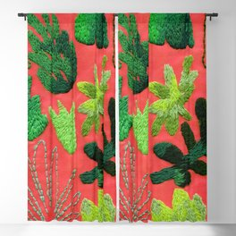 tropical leaves embroidered pattern Blackout Curtain