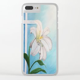 Easter Lilly Cross Clear iPhone Case