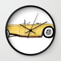 the great gatsby Wall Clocks featuring Great Gatsby Yellow Roadster by JasonKoons
