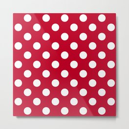 Red and Polka White Dots Metal Print