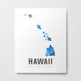 Hawaii - State Map Art - Abstract Map - Blue Metal Print