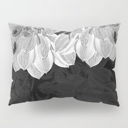 Elegant Black and White Flowers Design Pillow Sham