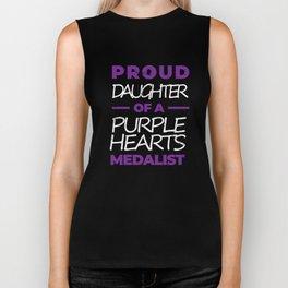 Purple Hearts War Hero Proud Daughter  Biker Tank