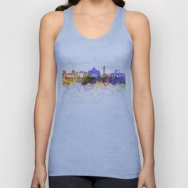 Ahmedabad skyline in watercolor background Unisex Tank Top