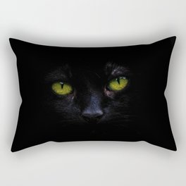 Black Cat Green Eyes Face (Color) Rectangular Pillow