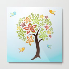 Tree and birds Metal Print