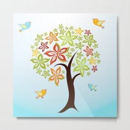 Tree and birds Metal Print