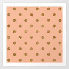 Burly Wood2 Gold Glitter Dot Pattern Art Print