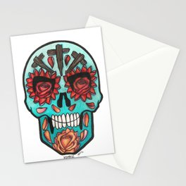 Teal Calavera with Roses Stationery Cards