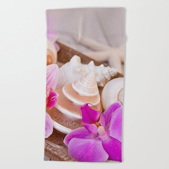 Pink Orchid and Sea Shell Maritime Still Life Beach Towel
