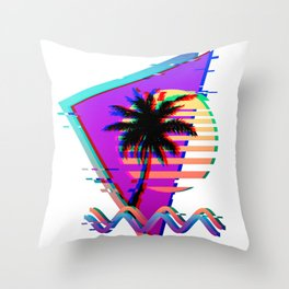 Vaporwave Palm Sunset 80s 90s Glitch Aesthetic Throw Pillow