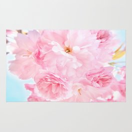 Soft Blue Sky with Pink Peonies Rug